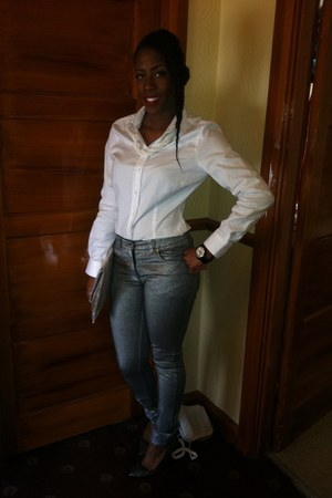 denim H&M jeans - cotton Zara shirt - manmade bank bag - leather TKmaxx heels