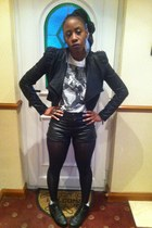 studded leather Ebay jacket - Office boots - H&M shorts - cotton next t-shirt