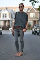charcoal gray skinny James Jeans jeans - brown leather JCrew belt