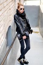 black nike sneakers - black Muubaa jacket - black madewell purse