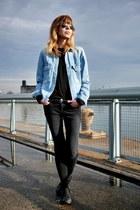 blue Zara jacket - black J Brand jeans - black Converse sneakers