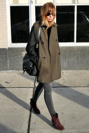 olive green Mango coat - crimson ASH boots - gray James Jeans jeans