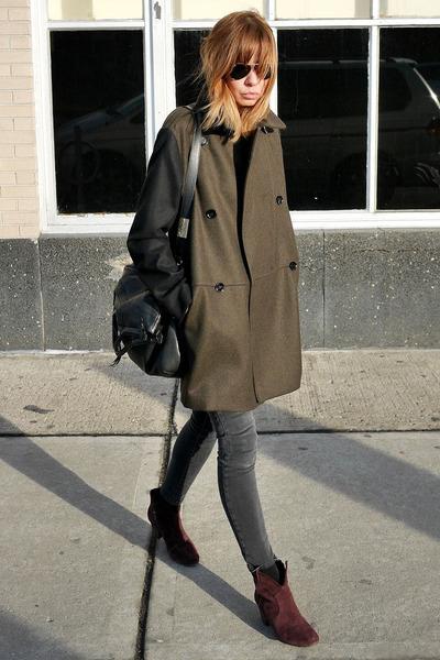 olive green Mango coat - crimson ASH boots - gray James Jeans jeans