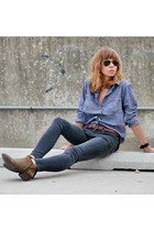 blue denim madewell shirt - army green sam edelman boots