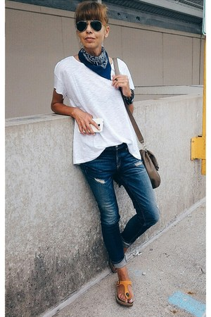 blue Rag and Bone jeans - blue Levis scarf - white Mango t-shirt