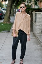 camel silk Equipment shirt - leopard print madewell purse