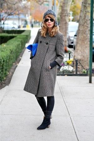 brown vintage coat - black Zara jeans - blue Clare Vivier purse
