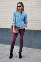 light blue denim Zara shirt - black dicker suede Isabel Marant boots