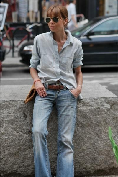 blue denim Zara jeans - blue denim madewell shirt
