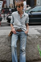 blue denim Zara jeans - blue denim madewell shirt