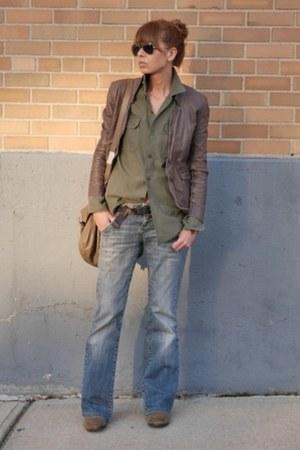 light brown Muubaa jacket - blue Zara jeans - olive green vintage shirt