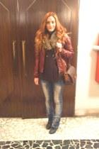 Zara jeans - Tally Weijl boots - Bershka jacket - Zara cardigan