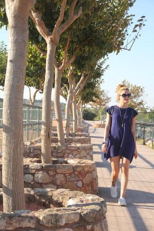 white Bershka shoes - blue wool Zara dress - teal Valentino sunglasses