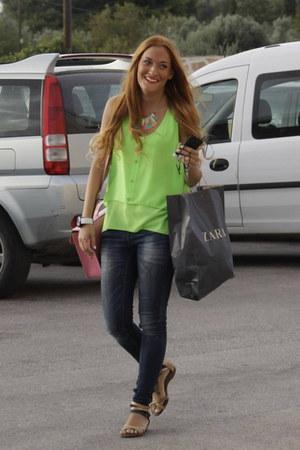 chartreuse Cannes top - navy Zara jeans - bubble gum cambridge satchel bag