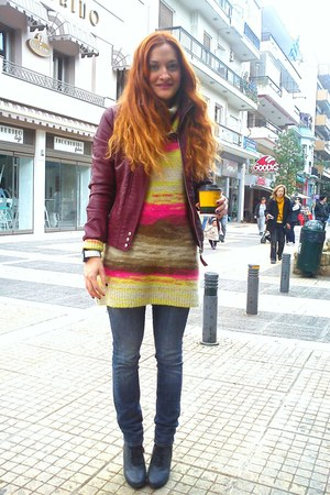 violet Tally Weijl boots - blue Diesel jeans - ruby red Bershka jacket