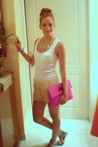 nude shorts - hot pink clutch bag - white Tally Weijl top - Zara necklace