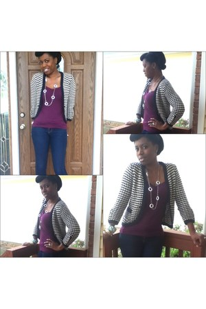 Local Boutique necklace - skinny ann taylor jeans - Ann Taylor Loft sweater
