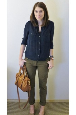 navy silk vince blouse - dark green cotton True Royal pants