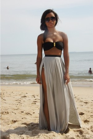 silver skirt - black swimwear