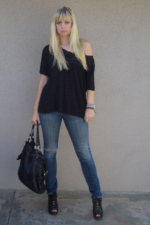 black Madden Girl boots - black Charles David bag - blue Lucky Brand jeans - bla