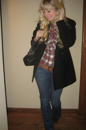 ruby red Ralph Lauren Polo blouse - black Kenneth Cole Reaction coat - tawny Luc