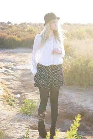 white lace Primark shirt - black wedges Zara shoes - black Zara hat