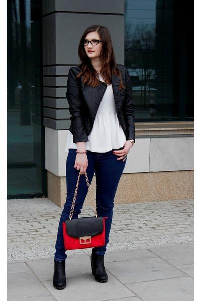 Mohito bag - Cubus jacket - D&G glasses - Zara blouse - Stradivarius pants