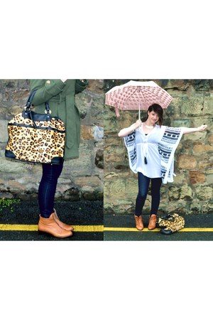 Topshop boots - vintage coat - Topshop bag - umbrella Topshop accessories - Tops