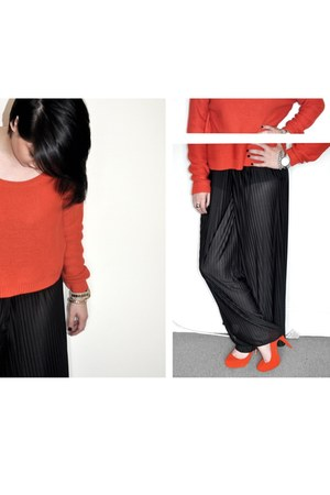 red H&M jumper - black H&M pants - red H&M heels