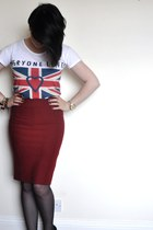 ruby red Topshop skirt - white Topshop t-shirt