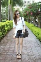 Forever New shirt - Louis Vuitton bag - Zara heels