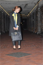 lime green rachel roy blazer - black Zara coat - blue Mason Jules shirt