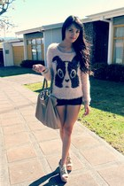 peach black rabbit Bershka sweater - camel nice things bag