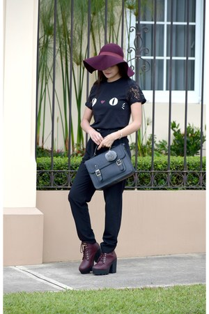 black Atmosphere bag - crimson Soda boots - crimson Stradivarius hat