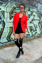 red Hada de Sol blazer - black TOTORO tights - black Forever 21 shorts