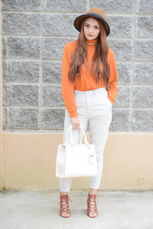off white Forever 21 bag - carrot orange shirt - brown Forever 21 heels