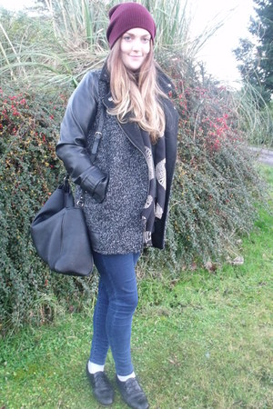 dark gray Primark coat - navy Topshop jeans - olive green Zara sweater