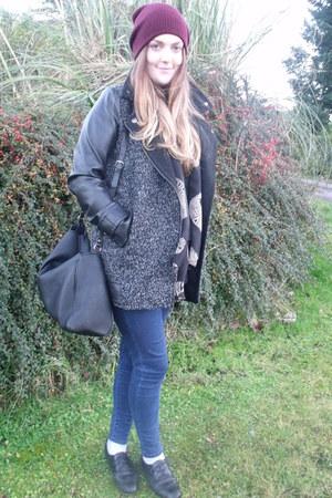 dark gray Primark coat - navy Topshop jeans - olive green Zara sweater
