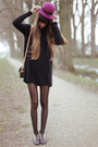 Hot-pink-asos-hat-black-topshop-boots-black-cos-sweater-black-falke-tights