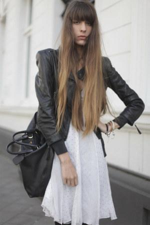 black leather Burberry jacket - off white tulle dari meya dress