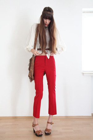 red Zara pants - cream Object blouse - camel H&M sandals