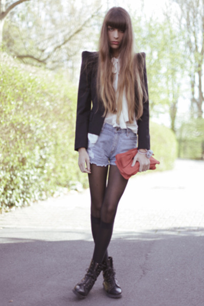 black Hudson boots - light blue Mango shorts - off white Urban Outfitters blouse