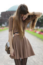Camel-cos-dress-brown-mango-coat-black-falke-tights