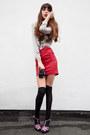 Red-vintage-skirt-ivory-zara-blouse