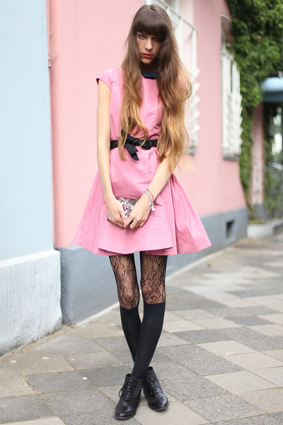 pink COS dress - black Wolford tights - teal Anna Sui wallet