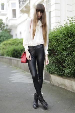 ivory asos blouse - black Alexander Wang boots - hot pink Zara blazer