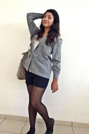 black tights - heather gray liz claiborne blazer - silver bag - black shorts