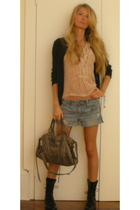 banana republic sweater - Phi blouse - madewell boots - American Eagle shorts