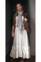brown banana republic jacket - white dvf dress - brown Old Navy belt - brown Jcr