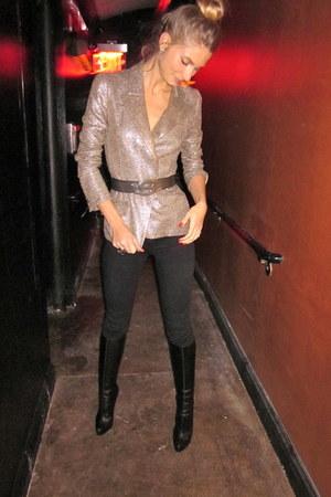 metallic linen vintage blazer - YSL belt